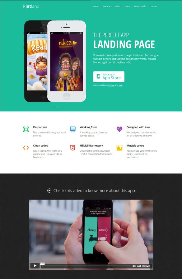 premium responsive html5 app landing page template