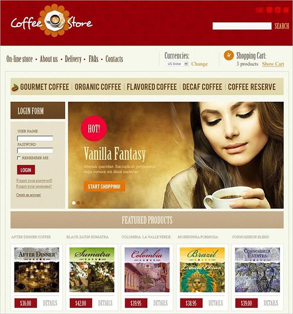 coffee store virtuemart theme