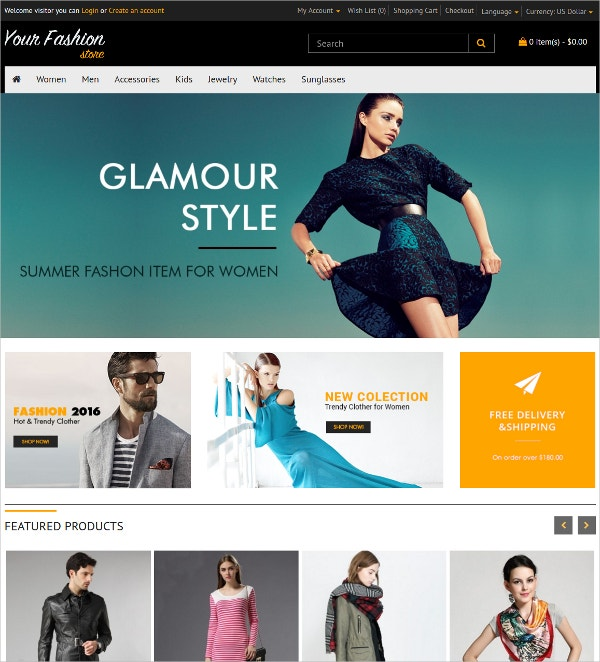 Fashion Store Online Store OpenCart Theme $25