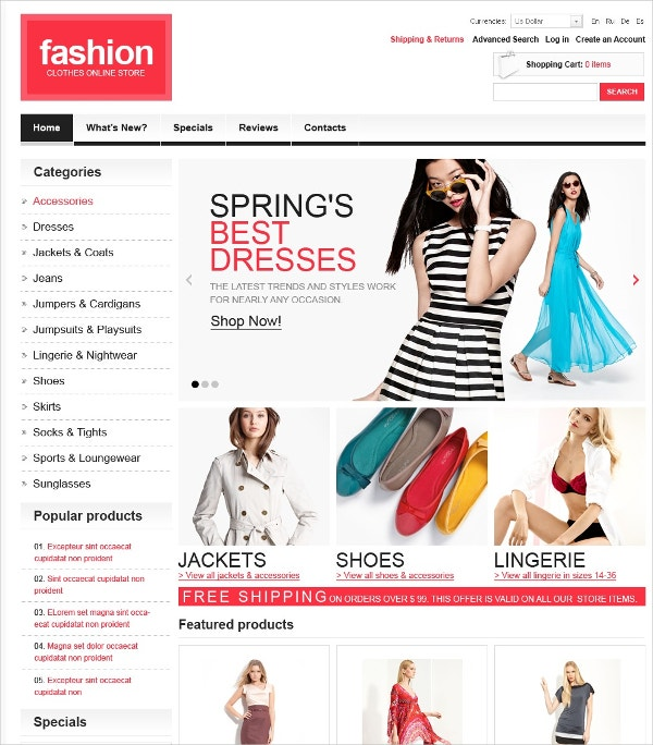 Fashion Clothes OsCommerce Template for Women $139