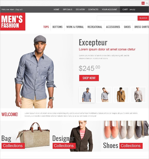Fashion Men's Wear OsCommerce Template $139