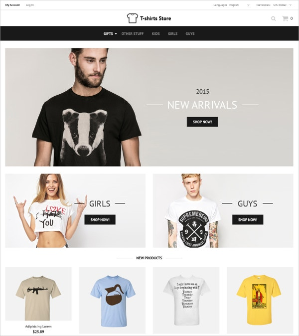 Fashion Designed Tshirts OsCommerce Template $139
