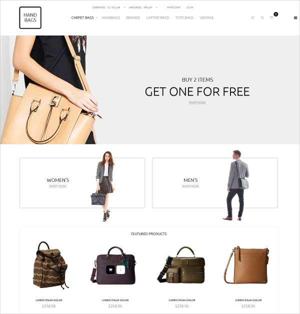 Fashion Handbags Boutique OsCommerce Template $139