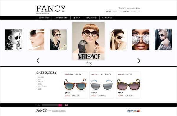 Fashion Sun Galsses OsCommerce Template $139
