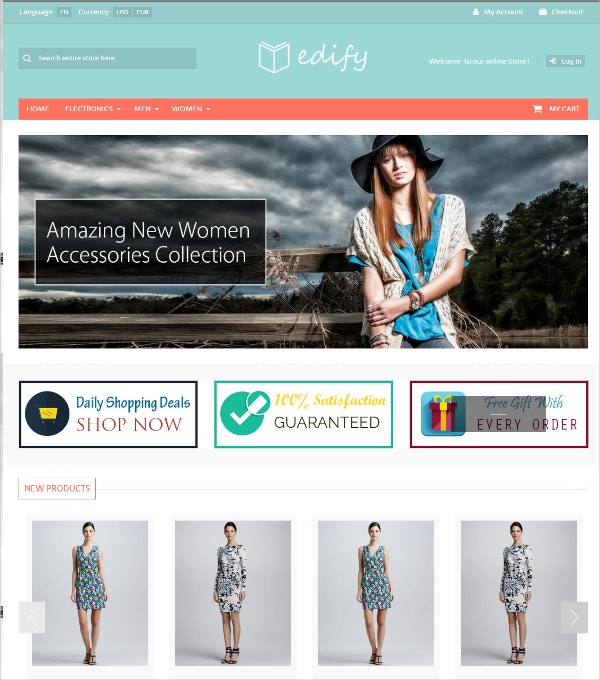 Multipurpose Fasion osCommerce Theme $54