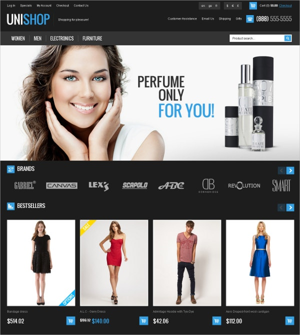 Fashion eCommerce osCommerce Theme $58