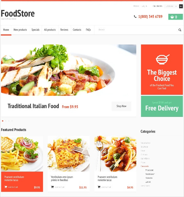 delicious food store zencart template 139
