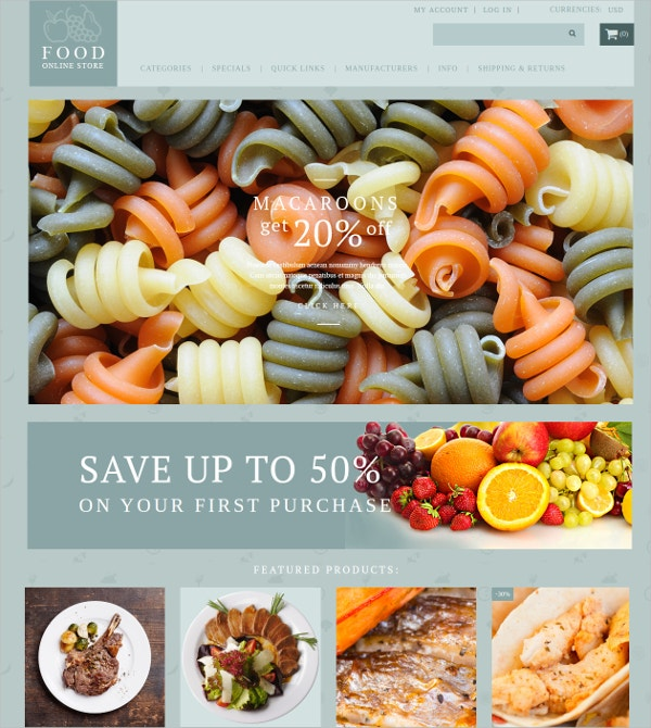 food shop responsive zencart theme