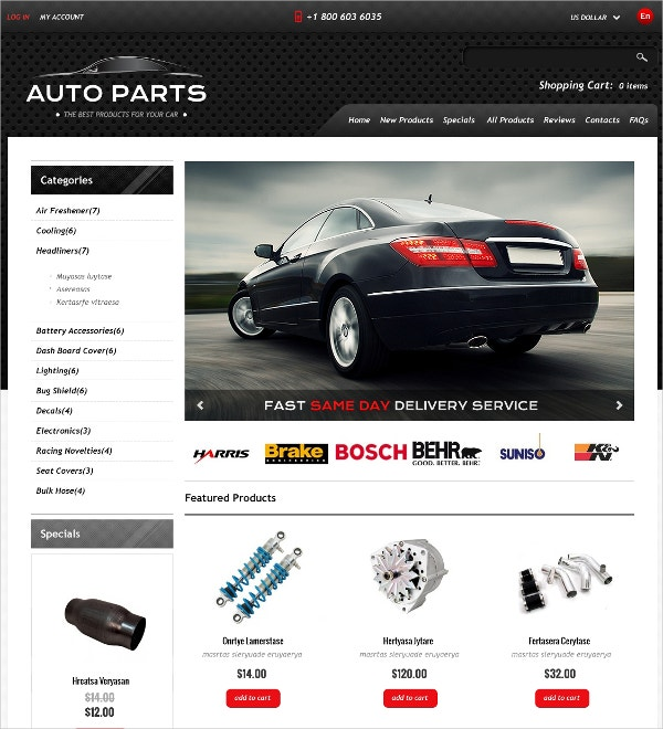 auto parts services zen cart template 139