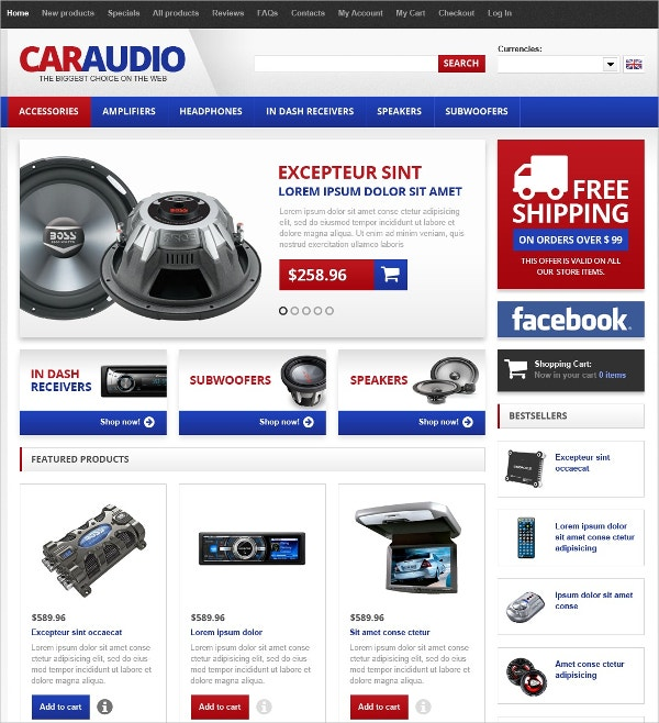 premium car audio zen cart template 139