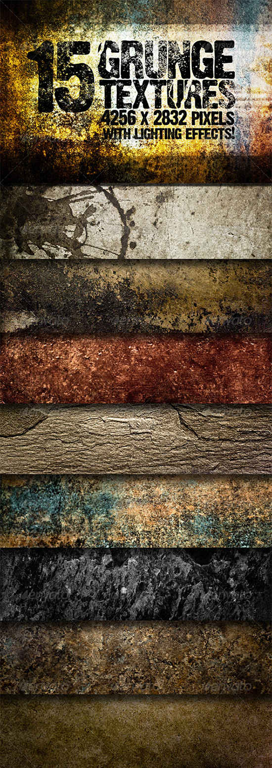 15 grunge textures with lighting effects