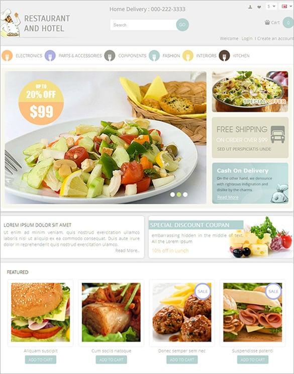 simle restaurant opencart theme