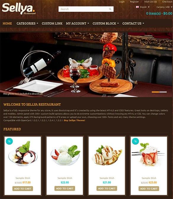 pretty restaurant opencart template
