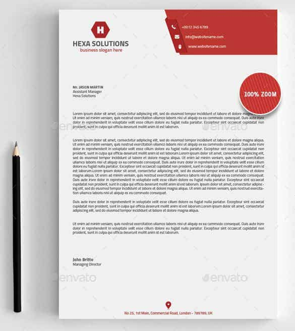 Elegant Assistant Manager Letterhead Template Inside Business Letterhead Samples