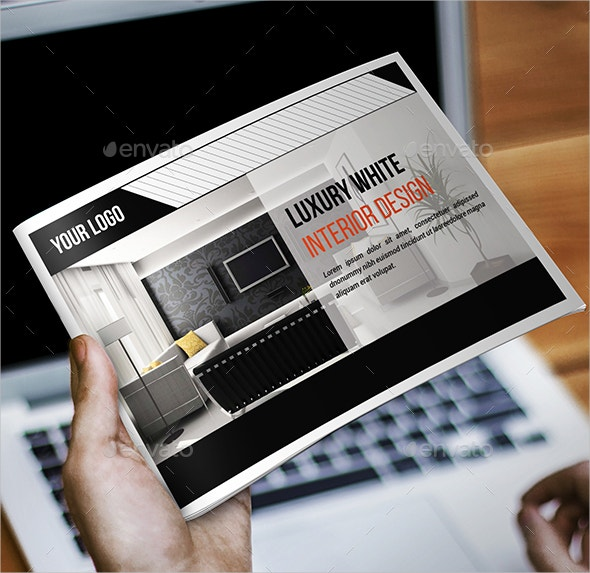 clean interior advertising brochure template