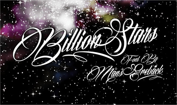 billion stars personal use font1