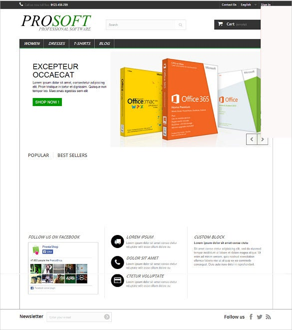software shopping prestashop free theme