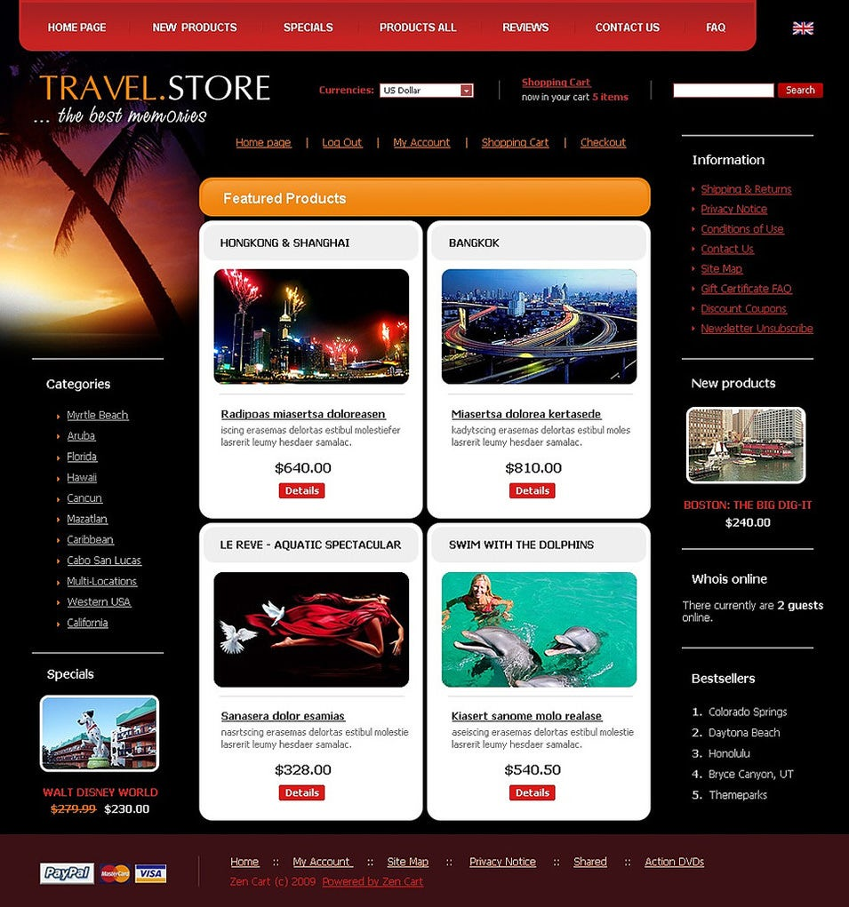 Zen Cart Travel Template