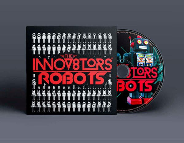 robots cd album cover psd template