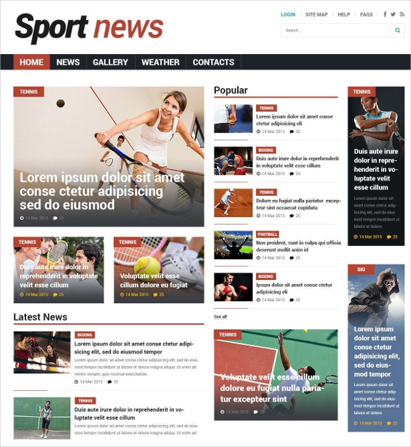 Sports News Joomla Blog Template $53