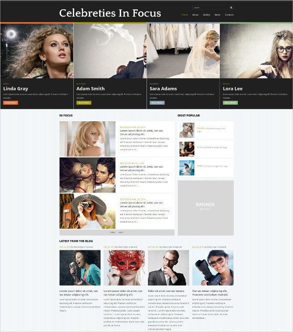Celebrities Gossip News Joomla Blog Template $53