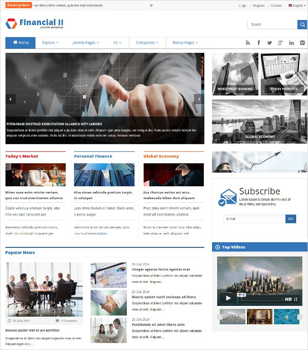 Responsive Financial News Joomla Blog Theme $48