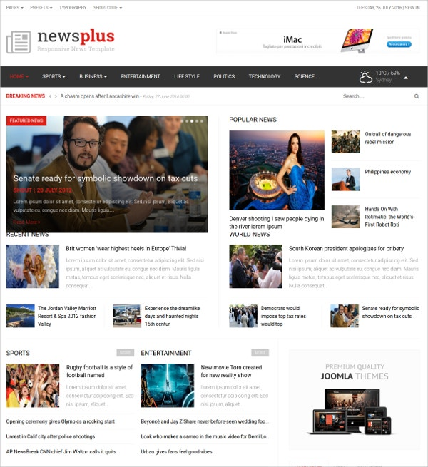 Fully Responsive News Joomla Blog Template