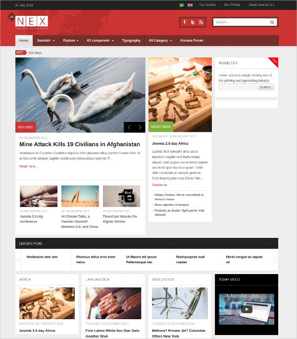 Simple News Joomla Blog Template $59