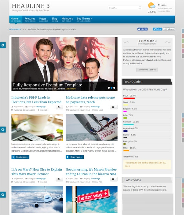 Poltics News Joomla Blog Template