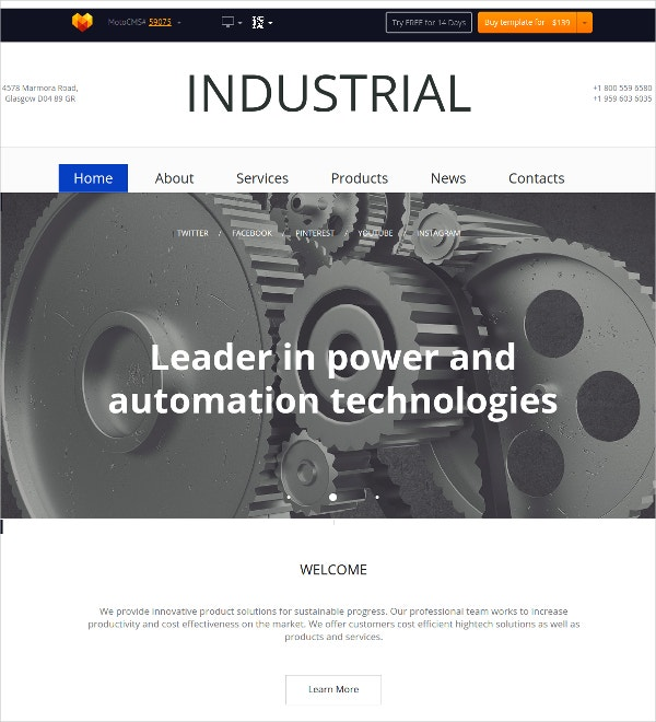 Business Auto Industrial Flash CMS Theme $139