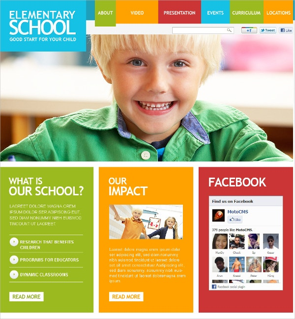 Elementary Education School Flash CMS Template $69