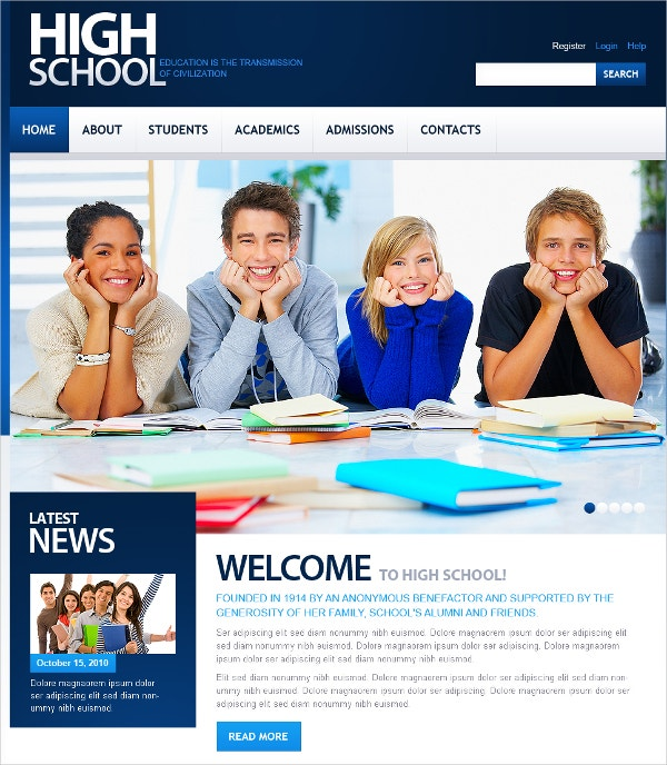 high school education flash cms template 69