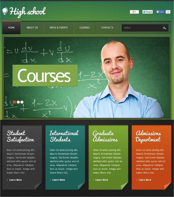 Education Courses Flash CMS Template $69