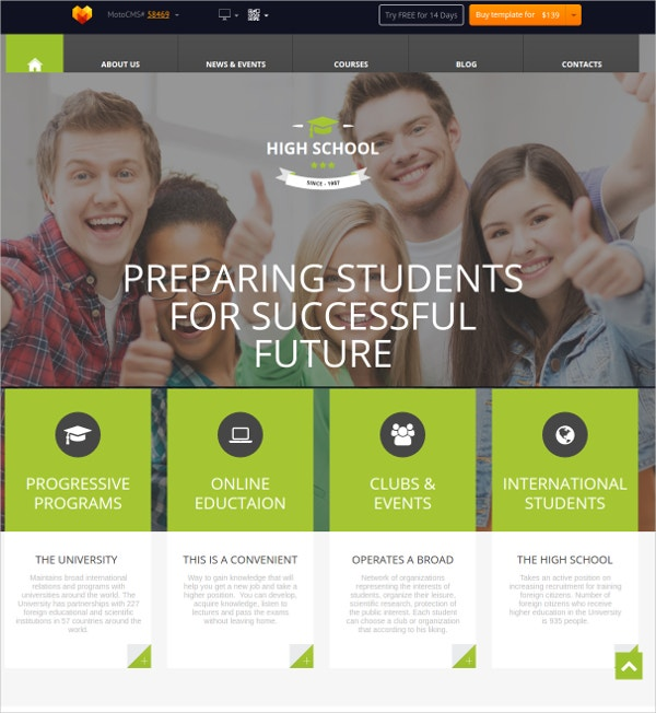 online education flash cms theme
