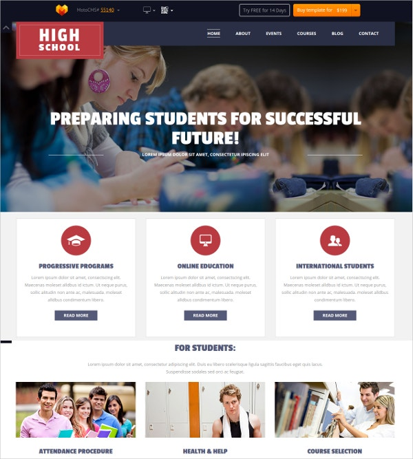 Responsive School Education Flash CMS Theme