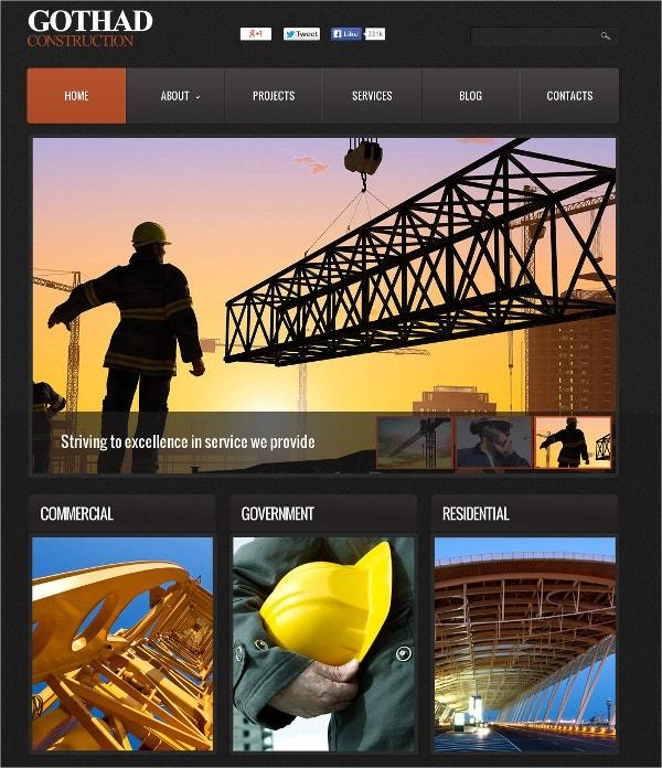 governament construction flash cms template 69