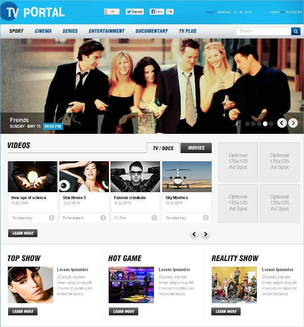 Media Channel Flash CMS Template $69