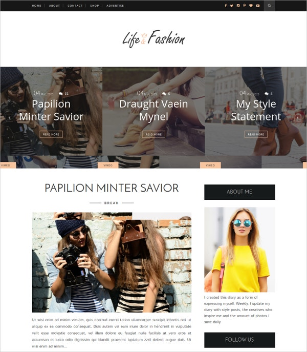 Free Fashion WordPress Blog Theme