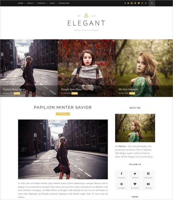Free Elegant WordPress Blog Theme