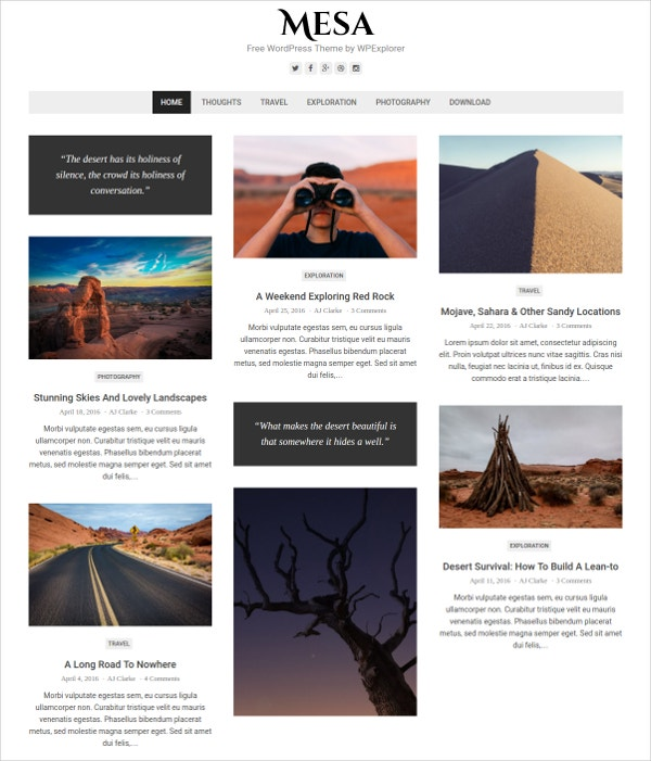 free minimalist blog wordpress theme