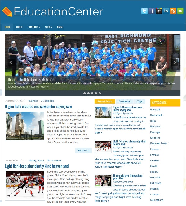 Free Education Center WordPress Theme