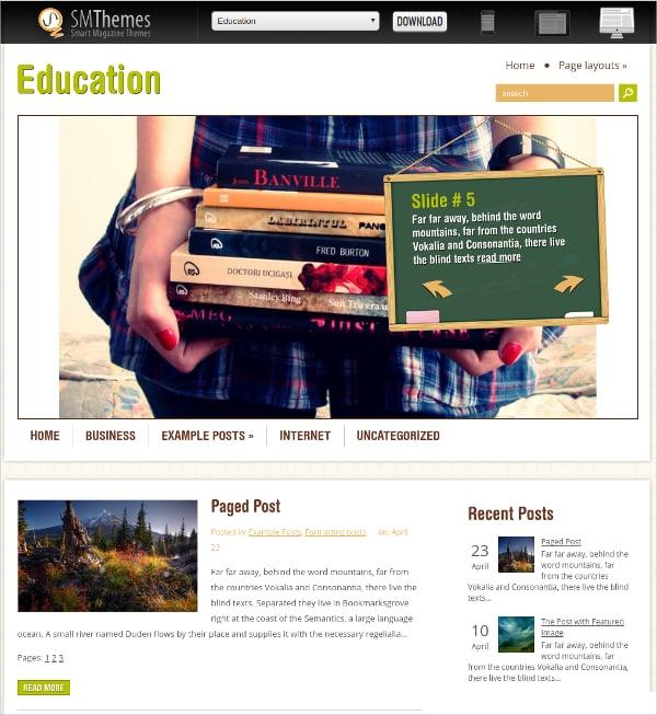 free perfect education wordpress theme