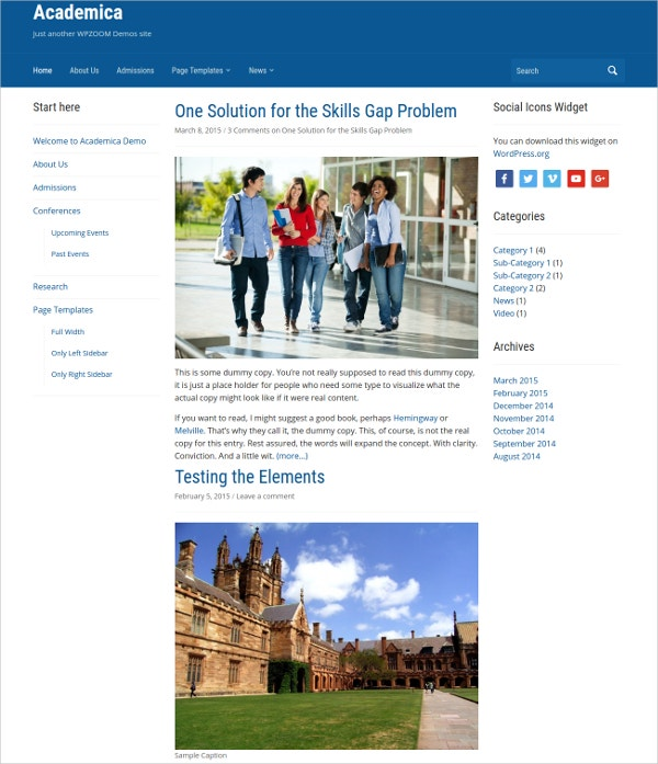 Free Acadamic Education WordPressTheme
