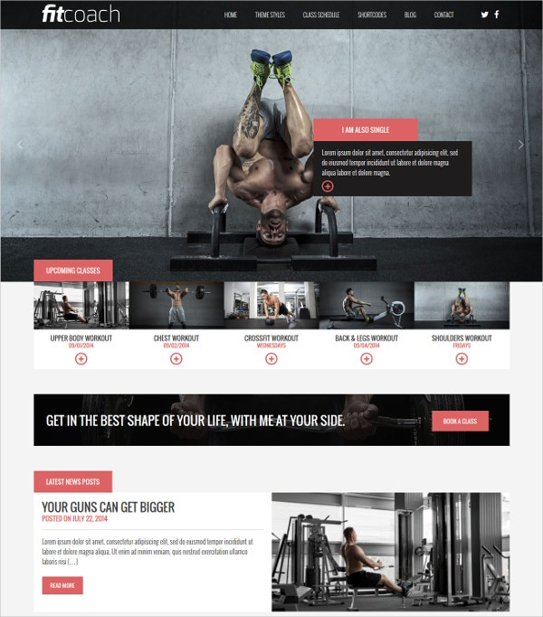Free Fitness Personal Coach WordPress Theme