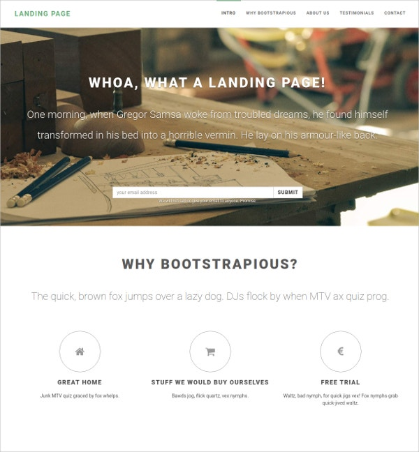 free creative one page landing page theme