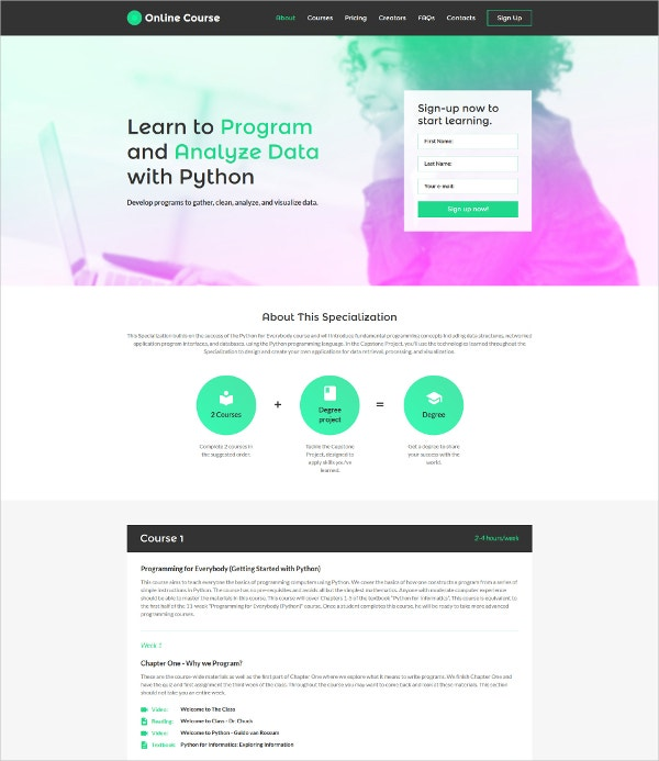 education learning landing page template 13