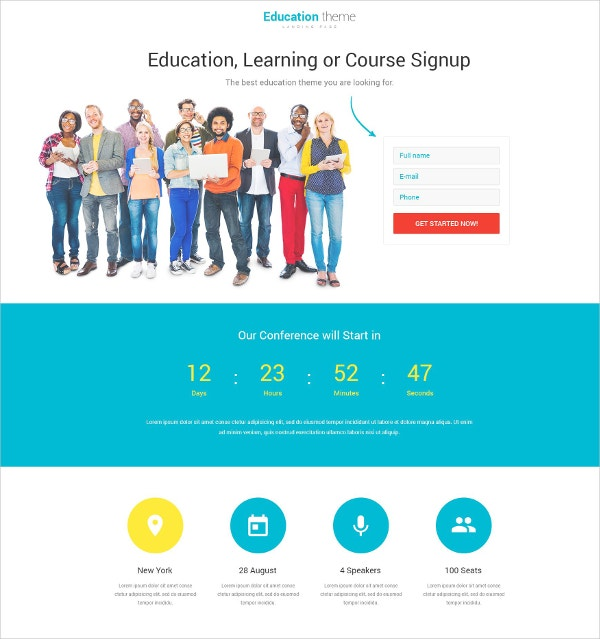premium education landing page template 10