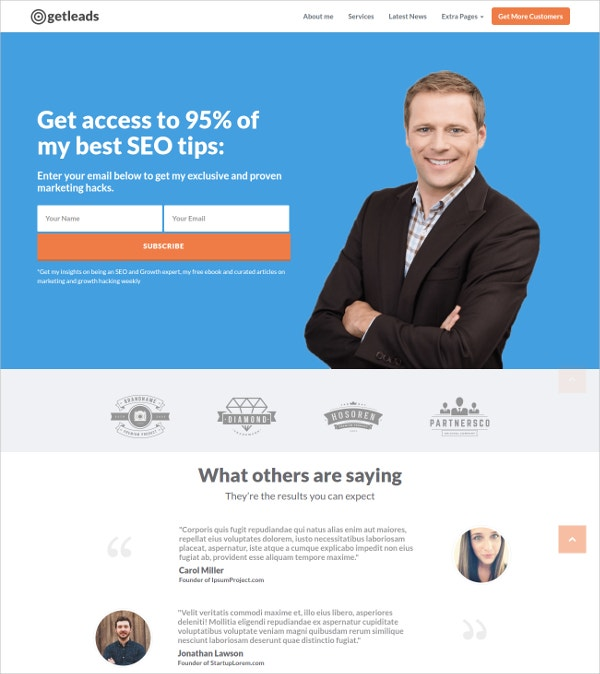Marketing Education Landing Page Theme $17