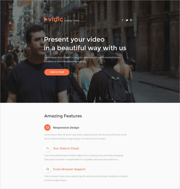 Responsive Video Gallery Landing Page Template $10