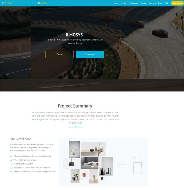 One Page Video Landing Page Theme $18